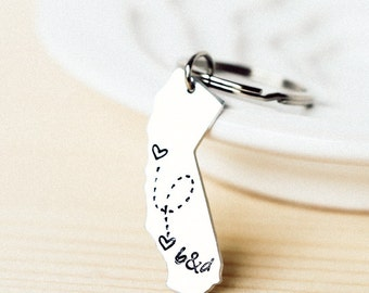 Long Distance Relationship Keychain - ALL 50 States, Customized State Keychain