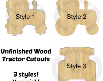 Tractor Door Hanger - 01623- Unfinished Wood  Laser Cutout, 3 choices, Various Sizes, Home Decor, Country, Farm