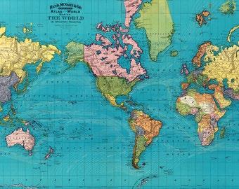 World map printable digital download 1922 vintage world map world map printable digital downloadntage world map 1897 old world map world gumiabroncs Images