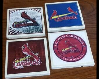 Lovely Home Decor Cardinals Baseball Coasters Travertine Tile, ST.Louis Cardinals  Image Decorative Tile Gift