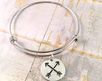 SALE! Arrow bangle bracelet, charm bracelet, Adjustable bangle bracelet, Follow your own arrow bracelet, Arrows of Friendship, gift for her