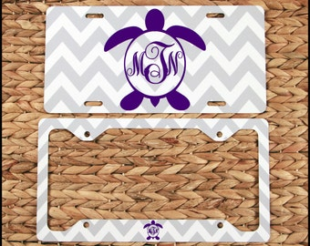 Turtle Monogram License Plate & License Plate Frame, Personalized Car Accessories Car Tags License Plates Nautical Cute Car Accessories