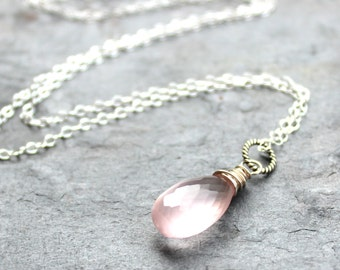 Delicate Jewelry Rose Quartz Necklace Pendant, Pink Teardrop, Sterling Silver Gemstone Drop