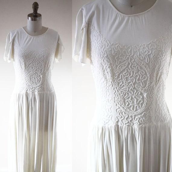 1930s white soutache dress // 1930s wedding dress // vintage wedding dress