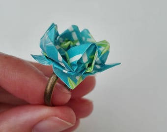 Lotus flower origami Japanese paper ring