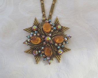 Florenza Maltese Cross Necklace, Vintage Designer Signed, Heraldic Jewelry, Maltese Jewelry