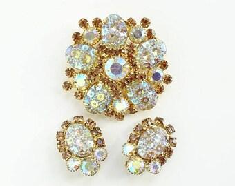 Juliana DeLizza & Elster Rhinestone Brooch Earrings Oval Floral Pressed Glass