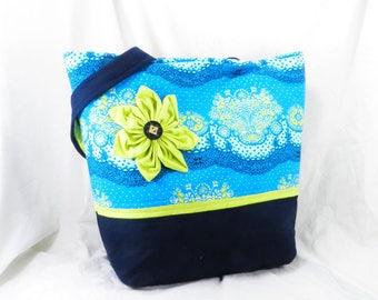 Amy Butler, Medium Shoulder Bag, Handmade Blue Tote, Lark Fabric
