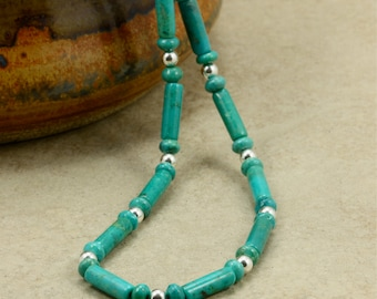 Turquoise Tube Necklace with Sterling Silver, Turquoise Necklace, Sterling Silver Necklace, Southwestern Necklace, December Birthstone