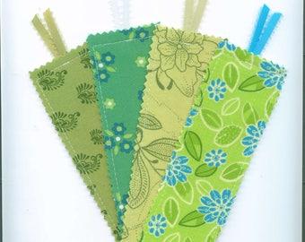 Set of 4, Handmade Fabric Bookmark, GREENS,  Book Accessory, Teacher Gift. Small Gift, Bookmark w/Ribbon, Stocking  Stuffer