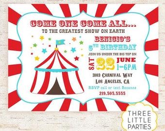 Carnival Birthday Invitation, Printable Carnival Invitation, Circus Invitation, Vintage Carnival Invitation, Vintage Circus invite