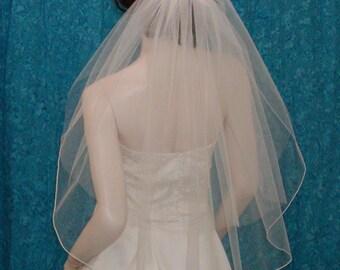 Two Tier Elbow Length Bridal Veil Sheer Blusher