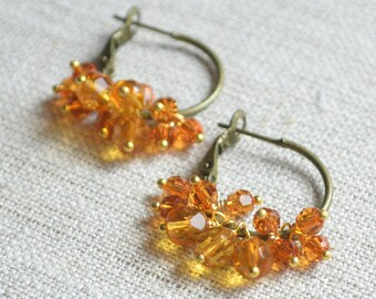 Topaz Hoop Earrings, Antiqued Brass Jewelry, Real Swarovski Crystal Beads, Cluster, Gold Plated, Mixed Metal, Summer Jewelry