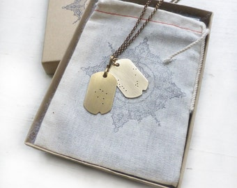 LOST ZODIAC Constellation Dogtag Necklace//Dog tags//Military inspired necklace//Constellation necklace/Custom necklace/Astrology//Astronomy