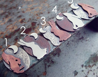 Moongazing Hare in Sterling Silver and Copper
