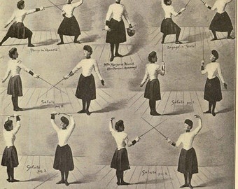 Salute Chief Movements Women's Fencing Vintage 1920s Fitness Photogravure Athletic Chart To Frame Black & White
