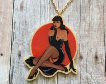 Black dress pinup necklace