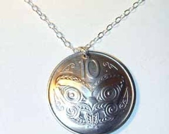 Maori Mask coin necklace- nicely domed-free shipping