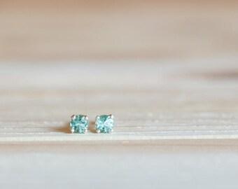 3mm seafoam green quartz stud earrings, gemstone stud earring, teal gem earring, lab quartz earring stud, simple jewelry, green earring stud