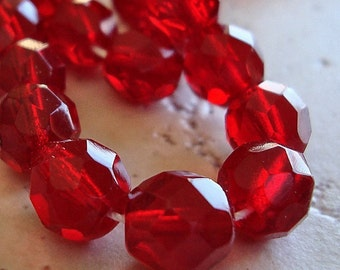 Czech Glass Beads 8mm Blood Red Faceted Rounds - 10 Pieces