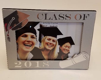 "Class of 2018- Metal Engraved Graduation Frame- 4"" X 6""- Great Graduation Gift"