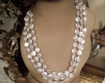Three strand freshwater coin pearl necklace