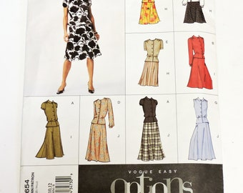 Vogue 2654 Blouse with Peplum Flared Skirt Sewing Pattern, Misses/Petite Size 8 10 12,   Uncut itsyourcountry