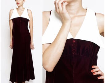 Vintage 60's/70's Maroon Velvet Maxi Dress with Oversized White Wing Collar by Kelly Arden | Medium