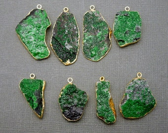 Uvarovite Pendant-- Edged in Electroplated 24k Gold-- RARE UNIQUE- Green Garnet Pendant (S48B11-19)