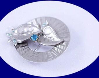 Art Deco Brooch Vintage Brooch Blue  Rhinestones Silver Tone Brooch Vintage Brooch Vintage Jewelry Costume Jewelry Gift For Her Boho Brooch