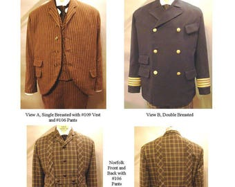 Men's Victorian 1860-1900 Sack Coats sizes 34-58 - Single Breasted, Double Breasted & Norfolk Versions - Laughing Moon Sewing Pattern # 116