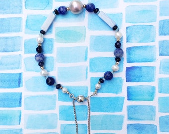 Semi-precious, pearl and sterling silver adjustable friendship bracelet