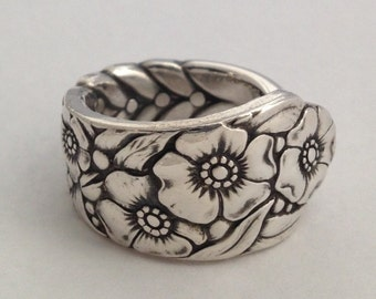 """Spoon Ring """"Ward Bouquet""""  1936 Silverware Jewelry Vintage Silverplate 6 to 12 Choose Your Size"""