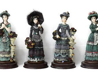 """Vintage Victorian Ladies Figurines Resin on Wooden Bases Lot of 6 by Sabre Inc Roses Hats Dresses Bling Parasol 5"""""""