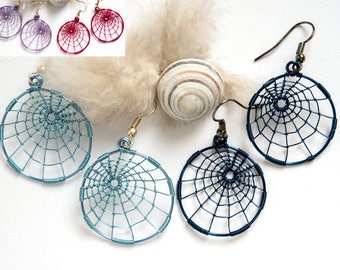 wirewrapped earrings,wire jewelry,round earrings,spider web jewelry,Halloween spider earrings,gothic,Inexpensive gift,Lightweight jewelry