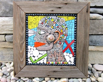 Wise Up. (A Handmade Mixed Media Mosaic Wall Hanging by Shawn DuBois)