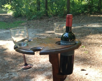 Wine Glass Holder, Outdoor wine table, Wine Holder for four wine glasses and a bottle.