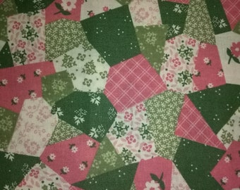 Pink, Green and White Flower Fabric