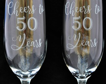 Champange Flutes Wedding Anniversary Custom made by Jackglass on Etsy Cheers to the Years!