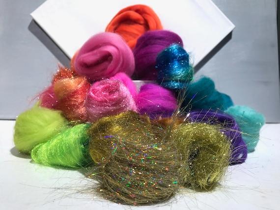 "Fiber Art batt KIT, felting wool, ""Indian Wedding Dress"" teal turquoise orange fuchsia gold chartreuse, spinning fiber, DIY Art Yarn Kit"