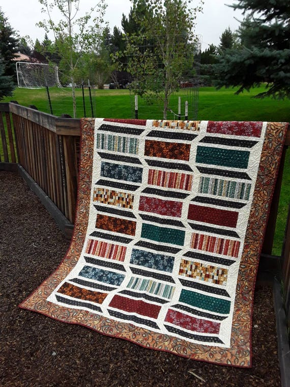 Under The Tuscan Sun Twin Size Quilt Kit. Modern Fall Decor Throw Over Your Leather Furniture. Fabric And Pattern For Quilt Top And Binding