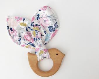 Wood teether, bird teether, wooden teething ring, gifts under 20, teething toy, wooden teether, baby teether, teething ring, baby gift