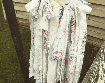 Shabby chic fabric hanging