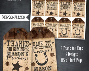 Cowboy Thank You Tags, Cowboy Favors,Western Thank You Tags, Western Birthday Party, Wanted Tags, Cowgirl Tags, Personalized, Printables