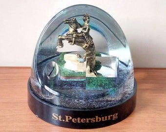 Souvenir. Pencil. snow globe with sequins ( Peter 1). Saint Petersburg, Russia.