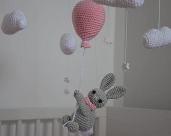 Baby mobile Rabbit on the ballon, baby crib mobile, Nursery decor, Baby gift, Handmade mobile, Baby crochet mobile, baby girl, nursery room