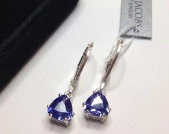 Beautiful 3ctw Trillion Cut Tanzanite & Sterling Silver Earrings Trillion Cut Tanzanite Leverback Fine Jewelry Trends Tanzanite Earrings