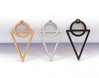 4pcs handmade laser cut wooden geometric charm pendant wood cut circle above triangle (WB 116)