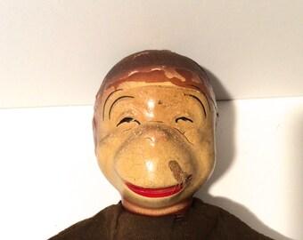 Vintage 1930s/1940s Composition Head Monkey Hand Puppet--Adorable