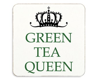 Green Tea Queen Coaster Cork Backed High Quality Gift